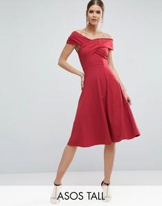 Приталенное платье миди с широким вырезом ASOS TALL - Красный