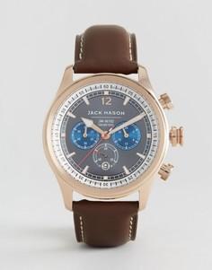 Часы с хронографом и коричневым кожаным ремешком Jack Mason Nautical - 42 мм - Коричневый