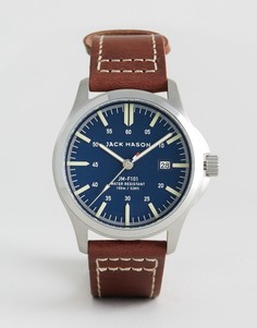 42 мм часы с кожаным ремешком, тремя стрелками и окошком с датой Jack Mason - Коричневый