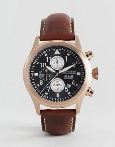 Часы с хронографом и кожаным ремешком Jack Mason Aviation 42 мм - Коричневый