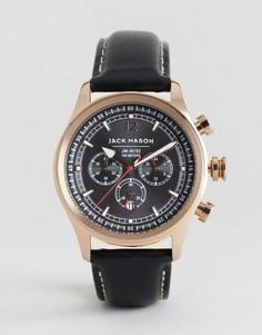 Черные часы-хронограф 42 мм с кожаным ремешком Jack Mason Nautical - Черный