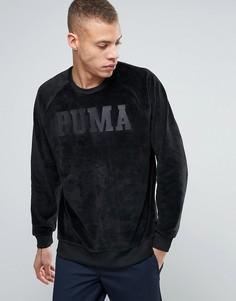 Черный бархатный oversize‑свитшот Puma - Черный