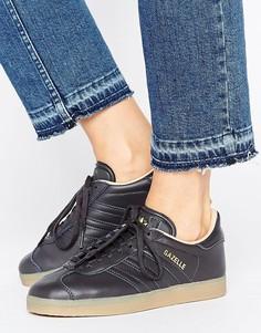 Черные кожаные кроссовки с каучуковой подошвой adidas Originals Gazelle - Черный
