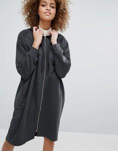 Трикотажный oversize-свитшот с капюшоном Monki - Серый