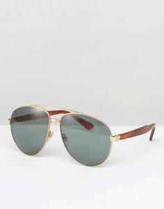 Солнцезащитные очки-авиаторы в золотистой оправе Gucci - Золотой