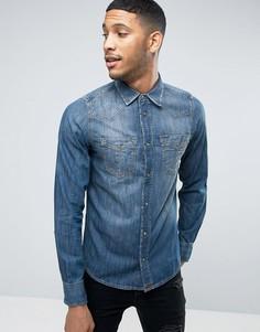 Приталенная джинсовая рубашка Diesel D-BROOME - Синий