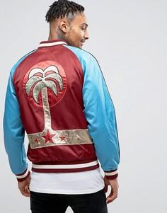 Атласная спортивная куртка с вышивкой пальмы Diesel J-BAKERY - Красный