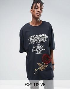Oversize-футболка с украшенной пайетками розой Reclaimed Vintage - Черный