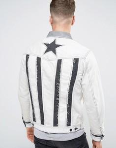 Джинсовая куртка с контрастной строчкой Diesel D-ILLIE - Серый