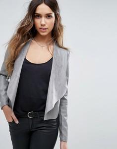 Куртка из искусственной кожи с каскадной драпировкой Vero Moda - Серый
