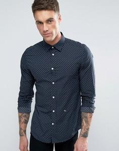 Узкая рубашка с мелким цветочным принтом Diesel S-BLANCA - Темно-синий