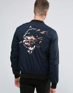 Куртка-пилот с вышитым тигром на спине Religion Souvenir - Темно-синий