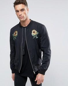 Куртка-пилот с цветочной вышивкой Religion Souvenir - Черный