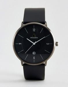 Черные часы с кожаным ремешком ASOS - Черный