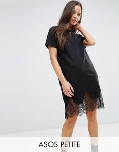Платье-футболка с кружевными вставками ASOS PETITE - Черный