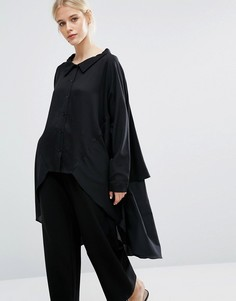 Oversize-рубашка из смешанных тканей с асимметричной кромкой Zacro - Черный