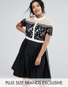 Платье 2 в 1 с воротником Chi Chi London Plus - Черный