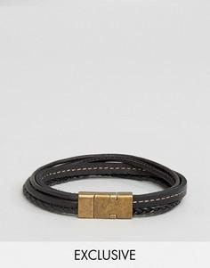 Черный кожаный браслет Seven London эксклюзивно для ASOS - Черный