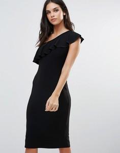 Платье на одно плечо с оборками Love - Черный