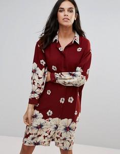 Свободное платье-рубашка с принтом Love - Мульти