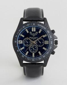 Черные часы с декоративными дополнительными циферблатами Brave Soul - Черный