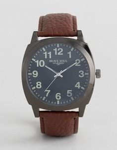 Часы с коричневым ремешком и черным циферблатом Brave Soul - Коричневый