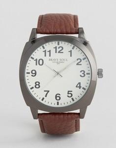 Часы с коричневым ремешком и белым циферблатом Brave Soul - Коричневый