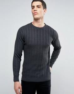 Легкий хлопковый джемпер с узором косы Tokyo Laundry - Серый