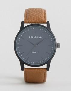 Часы с черным круглым циферблатом и коричневым ремешком Bellfield - Коричневый