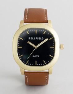 Часы с черным циферблатом и коричневым ремешком Bellfield - Коричневый