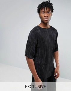 Oversize-футболка плиссе Reclaimed Vintage - Черный