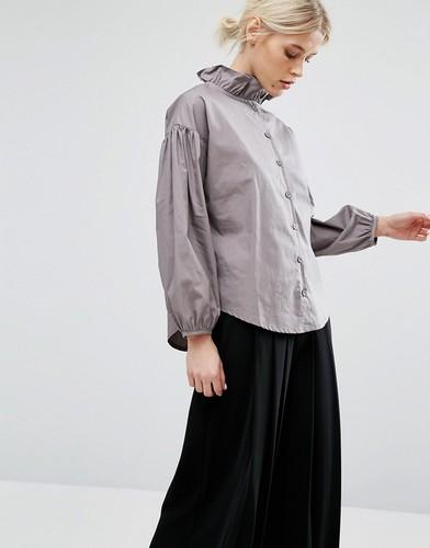 Блузка с воротником рюшами и эффектными рукавами Zacro - Серый