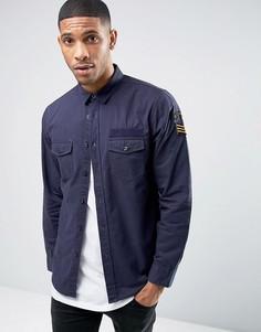 Рубашка с нашивками в стиле милитари Brave Soul - Темно-синий