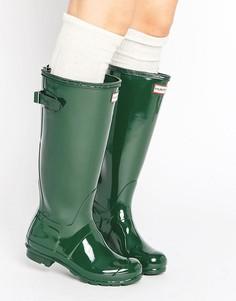 Регулируемые высокие резиновые сапоги Hunter Original - Зеленый