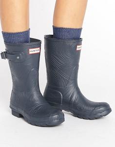 Короткие резиновые сапоги с волнообразной фактурой Hunter Original - Темно-синий