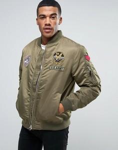 Куртка-пилот с нашивками Tokyo Laundry - Зеленый