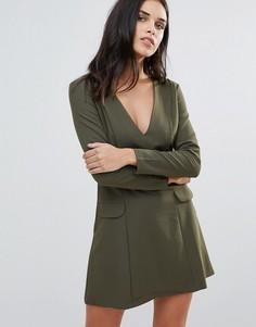 Платье с глубоким вырезом и карманами Love - Зеленый