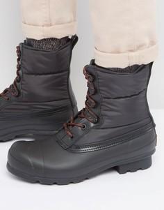 Стеганые ботинки на шнуровке Hunter Original - Черный