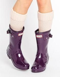 Короткие блестящие резиновые сапоги Hunter Original - Фиолетовый