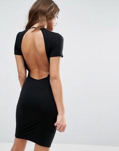 Облегающее платье-футболка мини с открытой спиной ASOS - Черный
