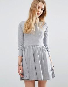 Трикотажное короткое приталенное платье Brave Soul - Серый