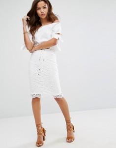 Кружевная юбка со шнуровкой Moon River - Белый