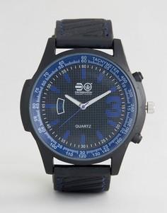 Черные часы с синими указателями Crosshatch - Черный