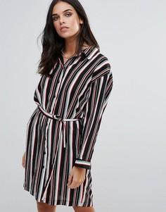 Платье-рубашка в полоску с поясом Love - Мульти