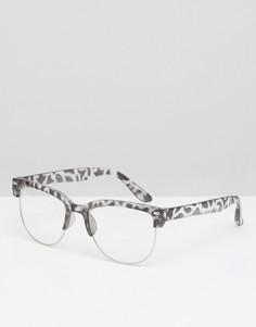Очки с леопардовой оправой и прозрачными стеклами 7X - Серый