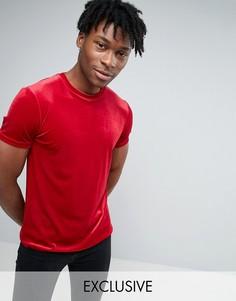Приталенная велюровая футболка Reclaimed Vintage - Красный
