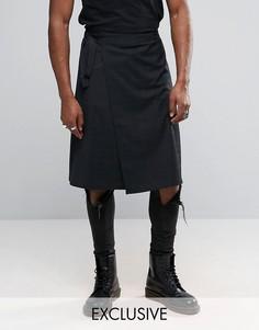 Юбка-килт в клетку тартан Reclaimed Vintage - Черный