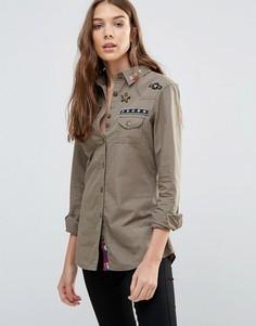 Рубашка в стиле милитари с нашивками Brave Soul - Зеленый
