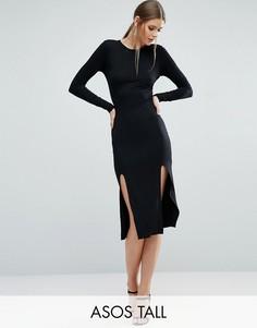 Облегающее платье миди с длинными рукавами и разрезами ASOS TALL - Черный