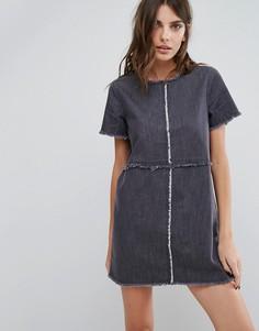 Джинсовое платье с необработанными краями Neon Rose - Серый